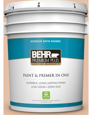 BEHR Premium Plus 5 gal. #bic-01 Fabulous Fawn Satin Enamel Low Odor Interior Paint and Primer in One