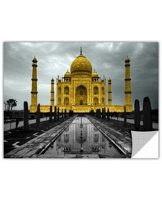 """ArtWall 'Taj Mahal' by Revolver Ocelot Photographic PrintRemovable Wall Decal, Canvas/Fabric in Gray/Black, Size 12"""" H x 18"""" W x 0.1"""" D 