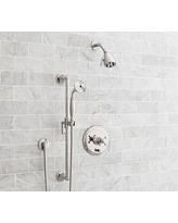 Warby Pressure Balance Cross-Handle Hand-Held Shower Faucet Set, Polished Nickel Finish