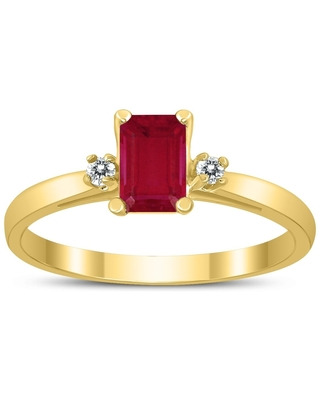 Emerald Cut 6X4MM Ruby and Diamond Three Stone Ring in 10K Yellow Gold (4.5)