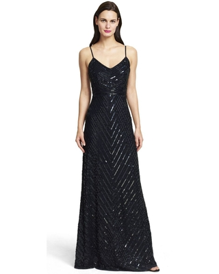 Adrianna Papell - Fine Strap Fully Beaded V-Neck Gown 91905320