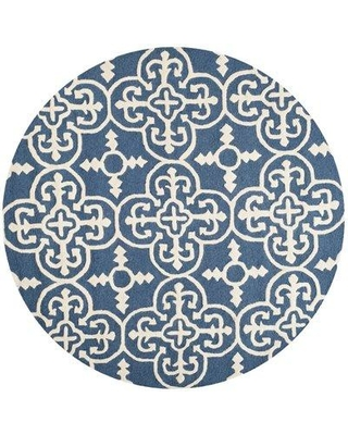 Three Posts Byron Navy Blue Ivory Tufted Wool Area Rug Thps3682 Size Round