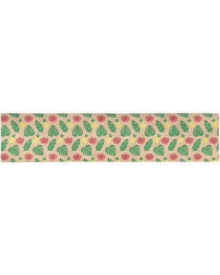 "Latitude Run Avicia Tropical Table Runner W000940891 Size: 73.5"" x 17.5"" Color: Orange/Green Material: Polyester"