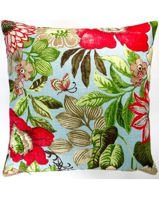 Artisan Pillows Butterfly Garden Flowers in Modern Cottage Floral Indoor Cotton Throw Pillow GE-002-01