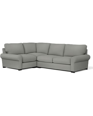 Turner Roll Arm Upholstered Right Arm 3-Piece Corner Sectional, Down Blend Wrapped Cushions, Performance Everydaysuede(TM) Metal Gray
