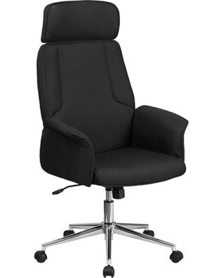 """CH-CX0944H-BK-GG 46""""-50"""" High Back Fabric Executive Swivel Office Chair with Built-In Lumbar Support Tilt Lock Mechanism and Curved Padded Arms in"""