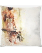 Rug Tycoon Girl Throw Pillow Synthetic in Brown, Size 18.0 H x 18.0 W x 3.0 D in   Wayfair PWO-girl-2242858
