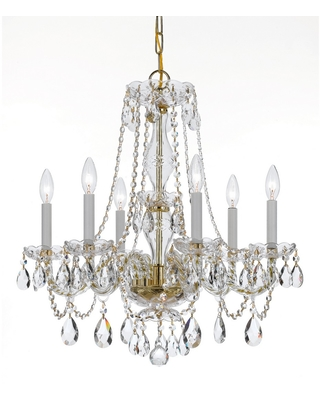 Crystorama Traditional Crystal 6-Light 25 inch Traditional Chandelier in Polished Brass with Clear Hand Cut Crystals