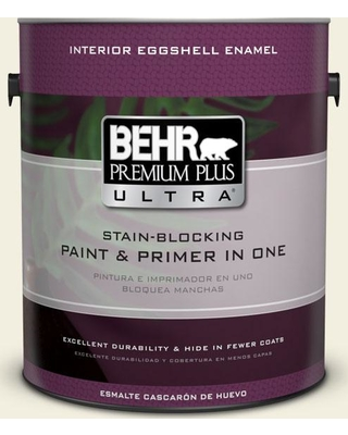 BEHR Premium Plus Ultra 1 gal. #GR-W01 White Wool Eggshell Enamel Interior Paint and Primer in One