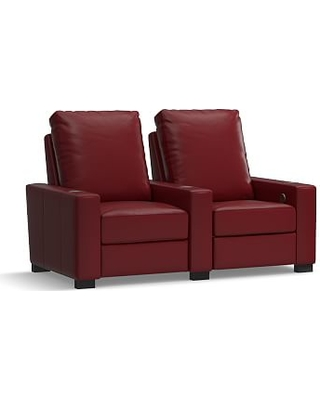 Turner Square Arm Leather 2-Piece Media Armchair Sectional, Down Blend Wrapped Cushions, Signature Berry Red