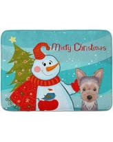 The Holiday Aisle Snowman with Yorkie Puppy Memory Foam Bath Rug THLA5066