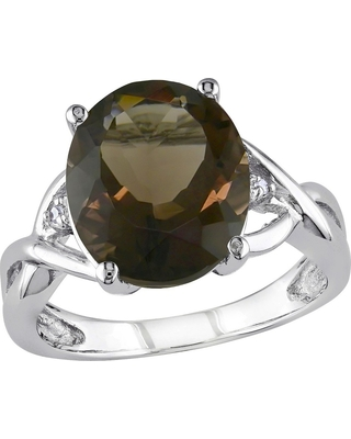 3.75 CT. T.W. Smokey Quartz and .01 CT. T.W. Diamond 3-Prong Setting Ring in Sterling Silver - 6 - Brown