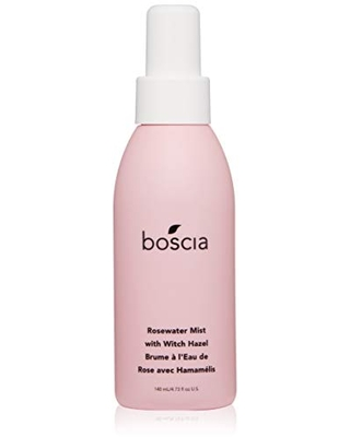 boscia Rosewater Mist with Witch Hazel - Vegan, Cruelty-Free, Natural and Clean Skincare | Alcohol-Free Face Toner with Rosewater, Witch Hazel, and Aloe Vera, 4.73 Fl Oz