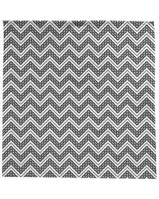 Brayden Studio Stephenie Classic Hand Drawn Chevrons Tablecloth X112154787 Color: Light Black/White