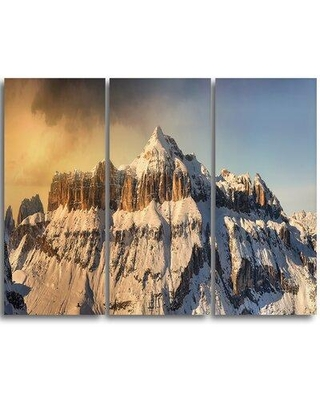 Design Art Dramatic Overcast Sky over Alps - 3 Piece Graphic Art on Wrapped Canvas Set PT11205-3P