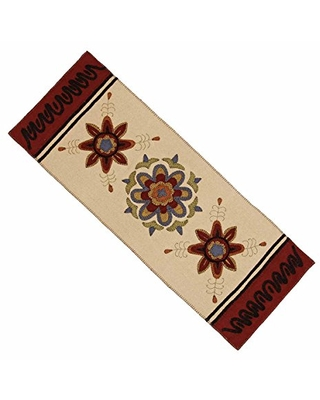 """Home Collection by Raghu Cream 14"""" x 36"""" 3 Flowers Table Runner"""