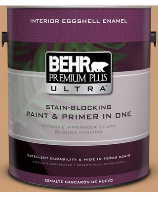 BEHR ULTRA 1 gal. #ICC-62 Pumpkin Butter Eggshell Enamel Interior Paint and Primer in One
