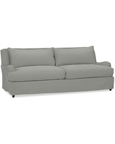 "Carlisle Slipcovered Grand Sofa 90.5"" with Bench Cushion, Polyester Wrapped Cushions, Performance Everydaysuede(TM)Metal Gray"