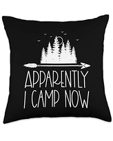 Matching Family Camping Gifts New Camper First Time Family Apparently I Camp Now Throw Pillow, 18x18, Multicolor
