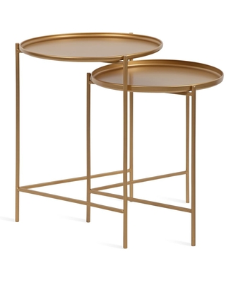 Kate and Laurel Ulani Round Metal Accent Tables, 2 Piece, Gold | 215708