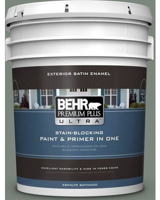 BEHR ULTRA 5 gal. #N410-5 Village Green Satin Enamel Exterior Paint and Primer in One