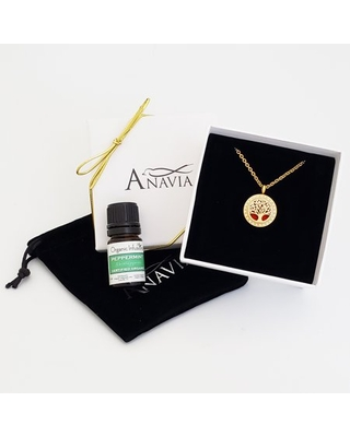 Anavia Gold Anniversary Tree of Life Gift for Her Diffuser Necklace & Organic Essential Oil Gift for Wife Fiancee Girlfriend Aromatherapy Jewelry Gift Birthday Set with Gift Necklace Ships Next Day!