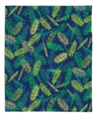 "Bay Isle Home Tallmadge Palm Leafs Blanket X114111062 Size: 68"" x 80"" Color: Green"