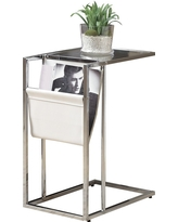 Metal Accent Table with Magazine Holder - White - EveryRoom