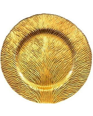 """Red Pomegranate Tree of Life 11"""" Dinner Plate 0495-0 Color: Gold"""