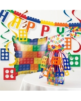 Block Birthday Party Decorations Kit, Multi-Colored