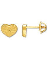 Child's Heart Earrings 14K Yellow Gold