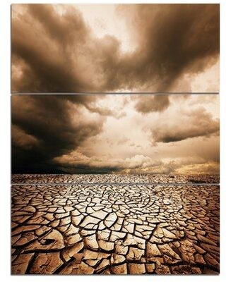 "Design Art 'Cracked Drought Land w/ Dark Clouds' 3 Piece Photographic Print on Wrapped Canvas Set, Canvas & Fabric in Brown, Size Large 33""-40"""