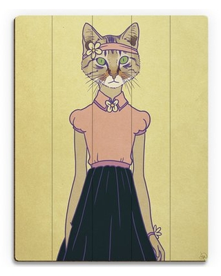Deals For Hipster Kitty Graphic Art On Wood Click Wall Art Size 24 H X 20 W X 1 D