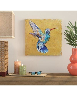 """Bay Isle Home Turquoise Hummingbird Painting Print on Wrapped Canvas BAYI6162 Size: 24"""" H x 24"""" W x 2"""" D"""