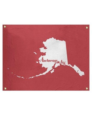 """East Urban Home Anchorage Alaska Wall Tapestry - Indoor/Outdoor EBJB7062 Size: 50"""" H x 59"""" W Color: Red"""