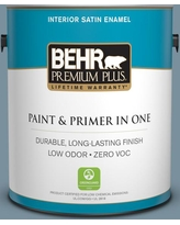 Shop Deals On Behr Premium Plus 1 Gal Pmd 55 Silent Tide Eggshell Enamel Low Odor Interior Paint And Primer In One