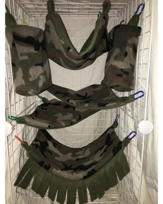 Complete Hammock Set For Rats, Sugar Gliders, Ferrets, or Other Small Pets - Featuring Camouflage Print Fleece