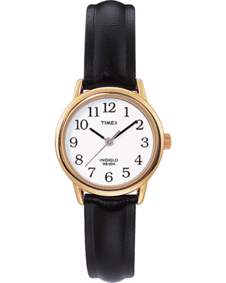 Timex Watch Women's Easy Reader 25MM Leather Strap Gold-Tone/black/white Item # T204339J