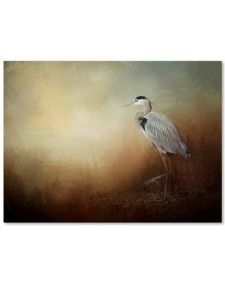 """Trademark Art 'Heron at the Inlet' Graphic Art Print on Wrapped Canvas ALI14436-C Size: 14"""" H x 19"""" W"""
