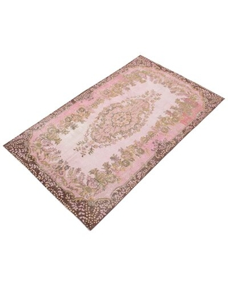 """One-of-a-Kind Oberly Hand-Knotted 2000s 5'11"""" x 9'11"""" Wool Area Rug in Pink"""