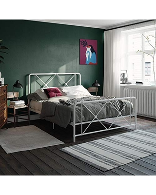 DHP Ally Metal Farmhouse Bed, Base, Queen Size Frame, White Adjustable
