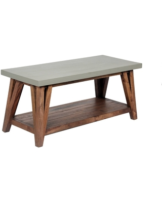"""36"""" Brookside Coffee Table Concrete Coated Top and Wood Light Gray/Brown - Alaterre Furniture"""