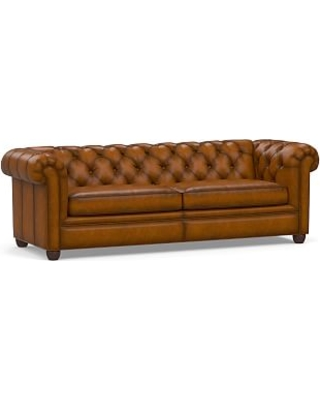 """Chesterfield Roll Arm Leather Grand Sofa 96"""", Polyester Wrapped Cushions, Burnished Bourbon"""