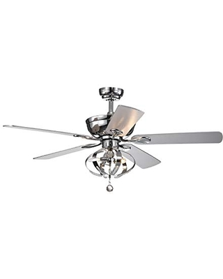 Warehouse of Tiffany CFL-8336REMO Tatiana 52-inch 3-Light Royal Chandelier Remote Control (incl 2 Blade Color Options) Ceiling Fan, Chrome
