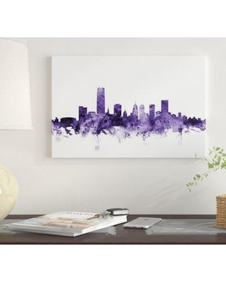 "East Urban Home 'Oklahoma City Skyline' by Michael Tompsett Graphic Art Print on Wrapped Canvas EUME4909 Size: 26"" x 40"" x 1.5"""