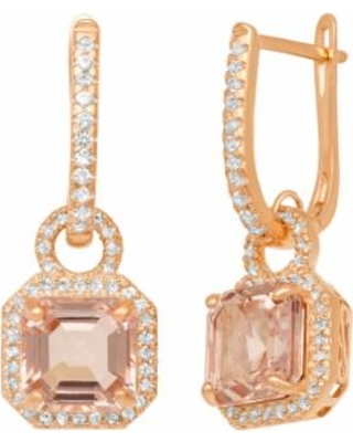 14k Rose Gold Over Silver Simulated Morganite and Lab-Created White Sapphire Octagonal Halo Drop Earrings, Women's, Pink