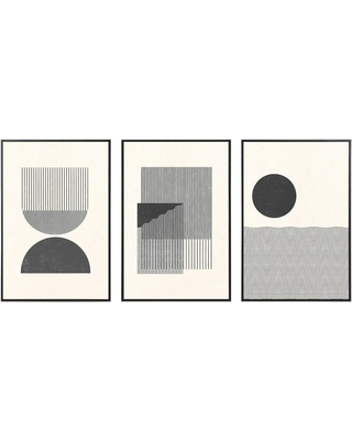 Black And White Retro Framed Wall Art 3 Piece: Multi - Wood by World Market