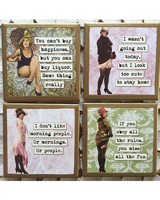 Coasters! Funny sassy ladies coasters with gold trim