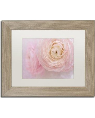 "Ebern Designs 'Soft Pink Flower Bouquet' Framed Photographic Print ENDE1441 Size: 11"" H x 14"" W x 0.5"" D Frame Color: Birch"