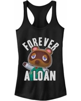 """""""Juniors' """"Animal Corssing Forever A Loan"""" Racerback Tank, Girl's, Size: Small, Black"""""""